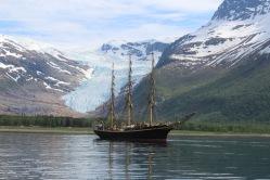 Tall Ship and Glacier
